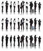 Silhouettes of Business People in a Row Waiting