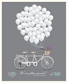 image of tandem bicycle  - Postcard invitation to the wedding - JPG