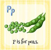 A letter P which stands for peas