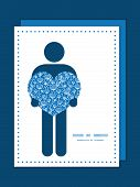 Vector blue white lineart plants man in love silhouette frame pattern invitation greeting card templ