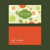 Vector fresh salad horizontal frame pattern business cards set