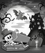 Black and white skeleton theme image - eps10 vector illustration.