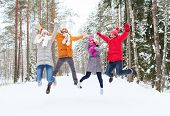 leisure, season, friendship and people concept - group of smiling men and women having fun and jumping in winter forest