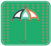 Yellow umbrella with red hearts, retro design, dotted background