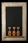 Vintage Valentines Love Cats Chalkboard Reclaimed Wood Frame Isolated On Black