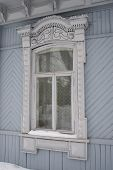 A Russian window frames with Snow