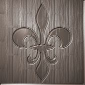 Fleur De Lis Relief On Wooden Background