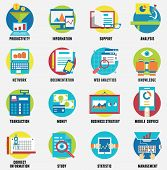 Web Analytics Information, Development Website Statistic And Business Flat Icons