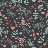 picture of dragonflies  - Vector dragonfly and flower nature seamless pattern - JPG