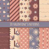 Set of 10 valentine's cute patterns