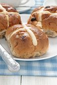 stock photo of lent  - Hot Cross Buns traditionally eaten hot or toasted during Lent - JPG