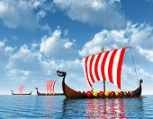 stock photo of viking ship  - Computer generated 3D illustration with Viking Ships - JPG