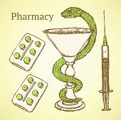 Sketch Pharmacy Set In Vintage Style