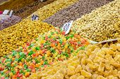 foto of dirhams  - Candied fruits and nuts at moroccan market in Marrakesh - JPG