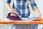 View Of Ironing Woman