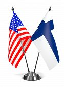 USA and Finland - Miniature Flags.