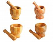 Wooden Mortar And Pestle. Set.
