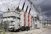 picture of substation  - Electrical power transformers in high voltage substation - JPG