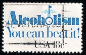 Постер, плакат: Alcoholism You Can Beat It Usa Post Stamp 1981