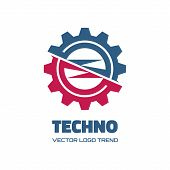 Techno - vector logo concept illustration. Gear logo. Factory logo. Technology logo. Mechanical logo