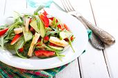 image of rocket salad  - Rocket chicken red bell pepper and cucumber salad with vinaigrette dressing - JPG