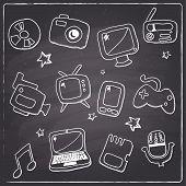 Chalkboard style multimedia icons