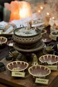 stock photo of brazier  - the brazier diffuses the scent of incense in the room - JPG