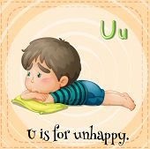 Illustration of a letter u is for unhappy