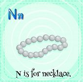 Illustration of a letter N is for necklace