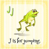 Illustration of an alphabet j is for jumping