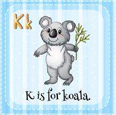Illustration of a letter K is for koala