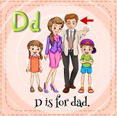 Illustration of a letter d is for dad