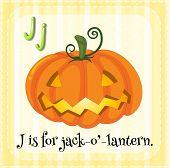 Illustration of a letter J is for jack o' lantern