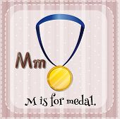 Illustration of a letter M is for medal