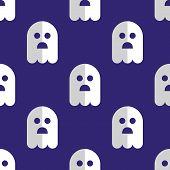 Seamless pattern white ghosts halloween background