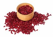 foto of phaseolus  - Red haricot in wooden bowl - JPG