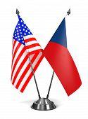 USA and Czech Republic - Miniature Flags.