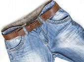 stock photo of indigo  - Jeans of indigo color on a show - JPG