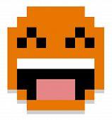 Vector Cute Cartoon Pixel Happy Face Isolated