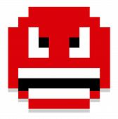 Vector Cartoon Pixel Angry Face Isolated