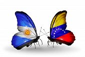 Two Butterflies With Flags On Wings As Symbol Of Relations Argentina And Venezuela