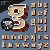 Vector illustration of an old fashioned alphabet. Compact extra. Set 2