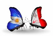 Two Butterflies With Flags On Wings As Symbol Of Relations Argentina And Malta
