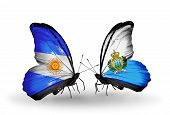 Two Butterflies With Flags On Wings As Symbol Of Relations Argentina And San Marino