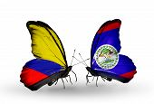 Two Butterflies With Flags On Wings As Symbol Of Relations Columbia And Belize