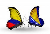 Two Butterflies With Flags On Wings As Symbol Of Relations Columbia And Bosnia And Herzegovina
