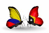 Two Butterflies With Flags On Wings As Symbol Of Relations Columbia And East Timor