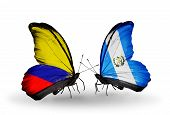 Two Butterflies With Flags On Wings As Symbol Of Relations Columbia And Guatemala