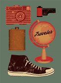 Vector grunge set of retro things for traveler.