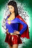 beautiful brunette woman dressed as a super hero